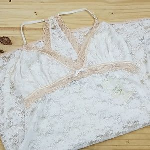 In Bloom By Jonquil White and Baige Lace Nightie